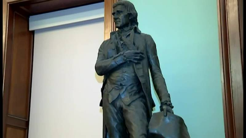 A statue of Thomas Jefferson that has stood in the New York City Council chambers will be...