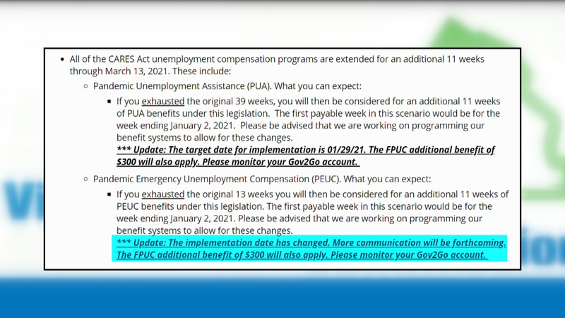 The VEC announced another delay in implementing the renewed PEUC benefit program under the...