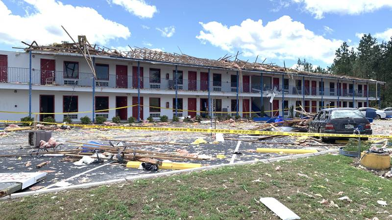 A tornado is said to be responsible for causing a lot of damage to a hotel in Southampton County.