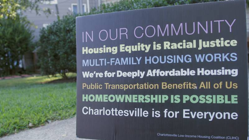 Charlottesville Low-Income Housing Coalition sign promoting housing policies