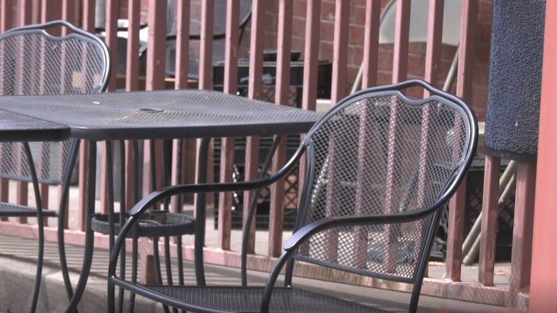 An empty patio chair at Northside Grill in Albemarle County.
