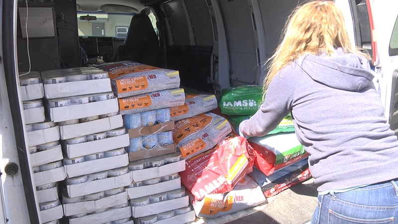Volunteers from Dogs Deserve Better Blue Ridge deliver food to food pantries across central...