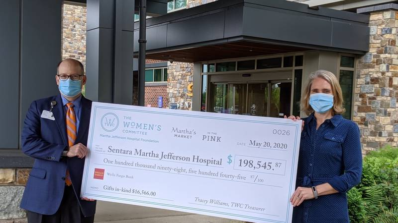 The Women's Committee presents a check for $198,545 to Sentara Martha Jefferson Hospital.