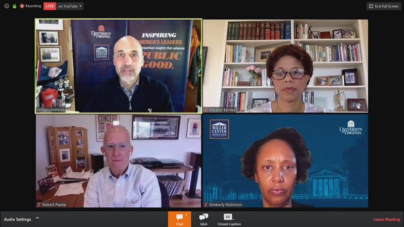 The UVA Miller Center hosts a virtual panel discussion on the lasting effects of the COVID-19...