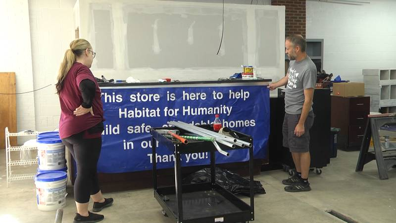 Setting up the new Habitat for Humanity Restore in Staunton one year after a fire destroyed the...
