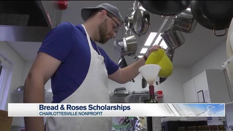A scholarship recipient using the kitchen at Bread & Roses.
