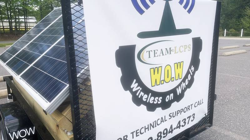"""A """"Wireless on Wheels"""" unit made out of solar panels."""