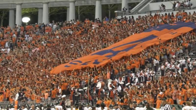 Crowd at the UVA football game on 9/4