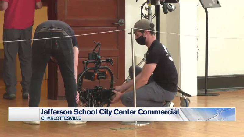 Crews set up for the commercial at the Jefferson School in Charlottesville.
