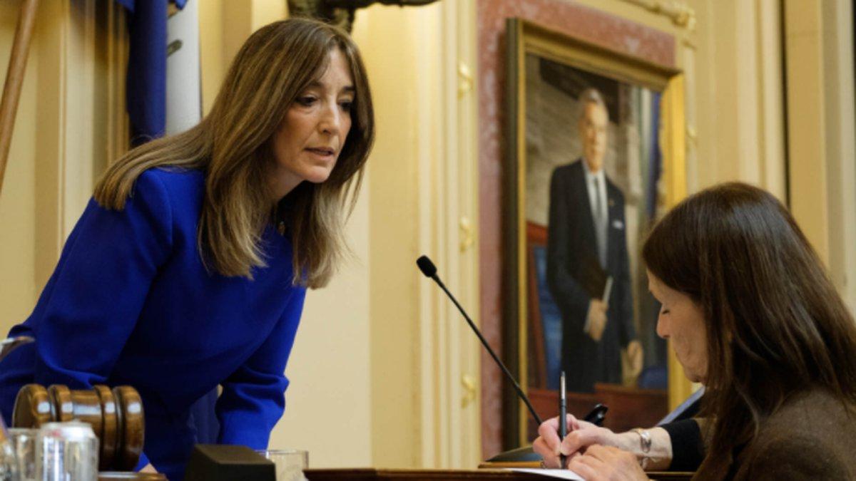 House Speaker Eileen Filler-Corn, D-Fairfax ,confers with Clerk Suzette Denslow as the...