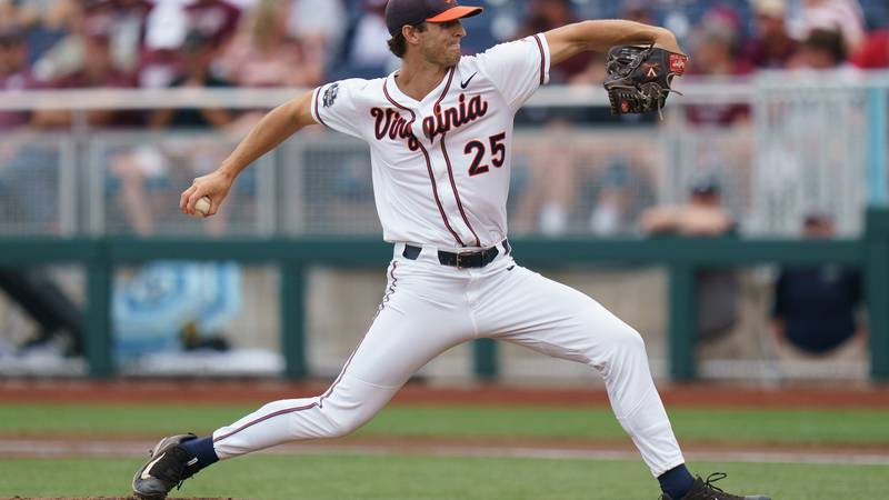 Griff McGarry took a no-hitter into the 8th inning for Virginia. (Photo by Mark...