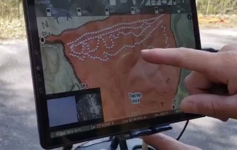 A fire plan is created with points on a map representing where the balls will be dropped