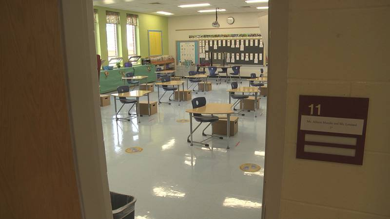 school classroom as teachers prepare for more students to return to in-class learning