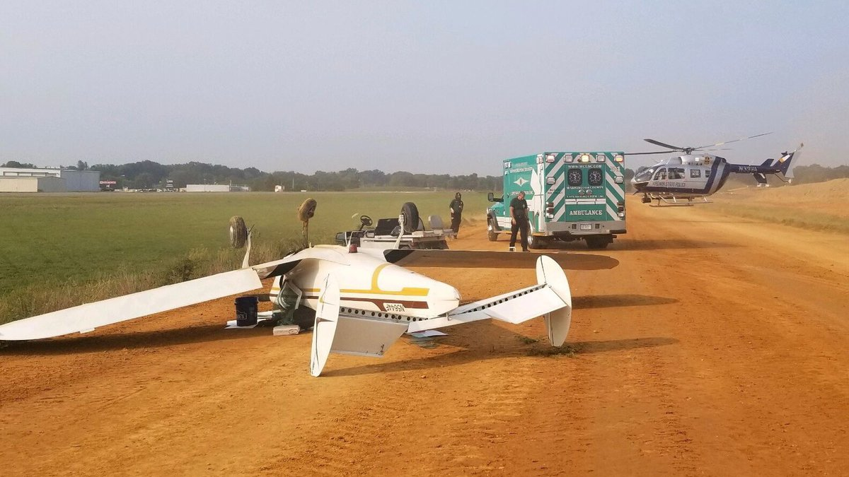 Virginia State Police say a pilot landing a small plane was injured when the plane went off the...