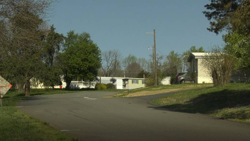 The entrance to the Cedar Hill Mobile Home Park in Albemarle County
