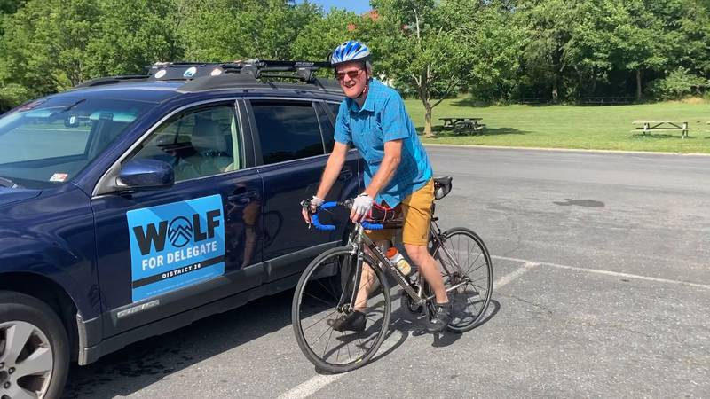 Candidate for 20th District House seat Randall Wolf getting ready for a three-day bike tour of...