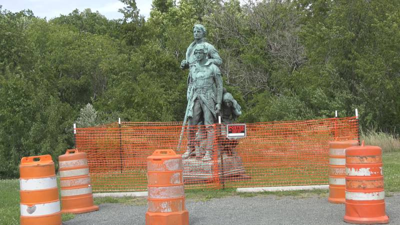 The statue of Sacajawea, Lewis and Clark stands -- off its pedestal -- at Darden Towe Park.