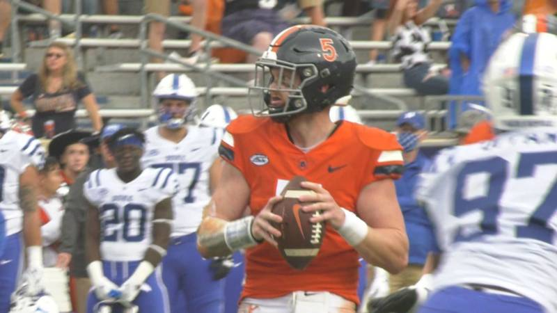 Brennan Armstrong leads the nation in passing yards.
