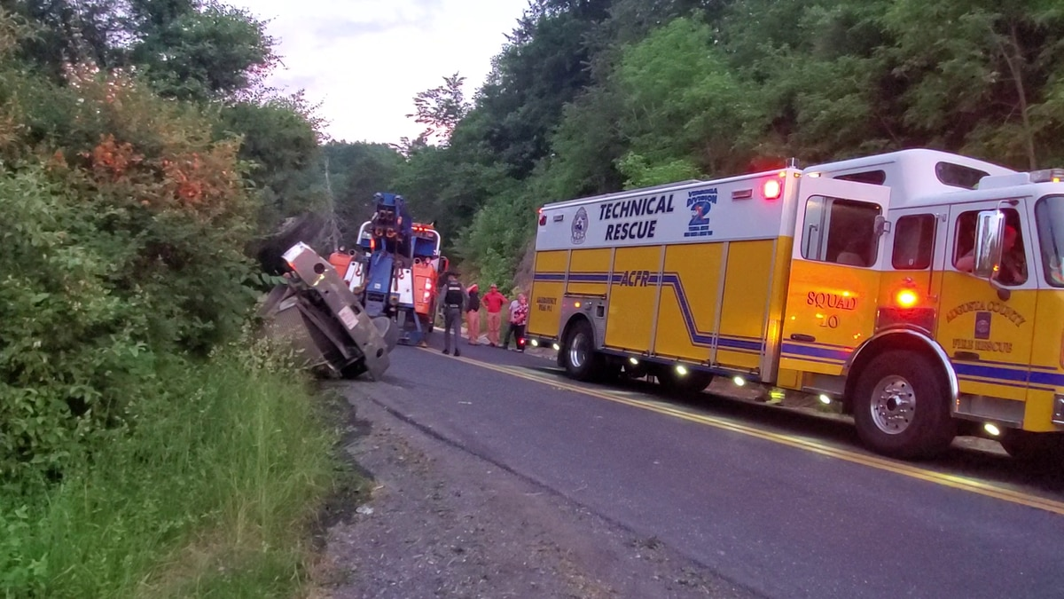 A tractor-trailer hauling corn overturned just before 7:30 p.m. in the area of Spring Hill and...