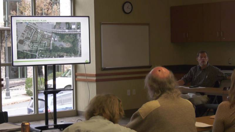 Developer Frank Stoner giving the Crozet community an update on projects coming downtown.