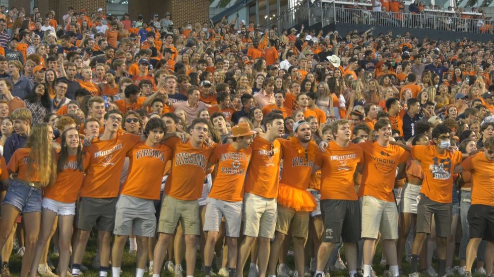 UVA football fans celebrate a TD at Scott Stadium