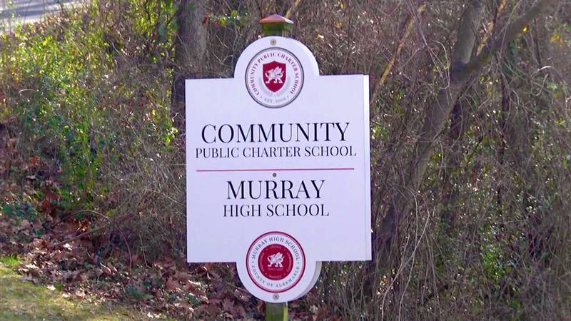Sign for Community Public Charter School and Murray High School.