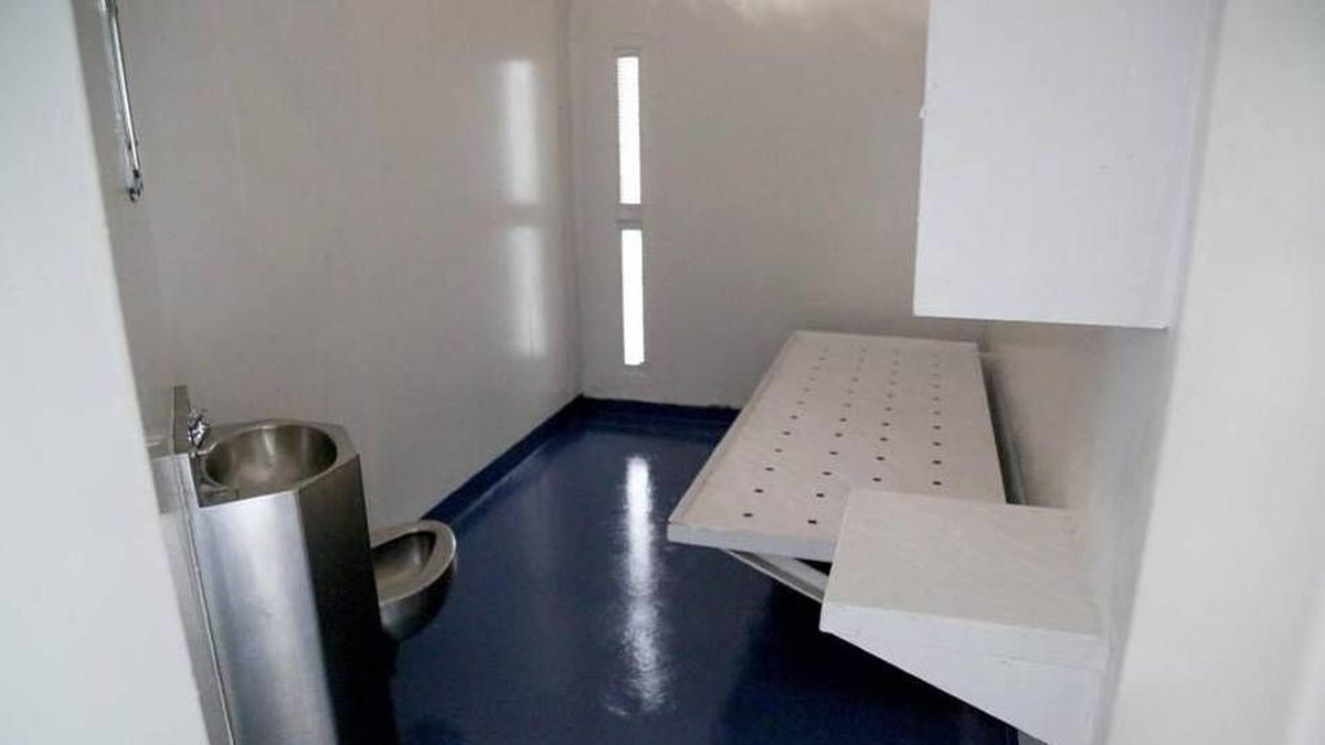 One of the prison cells at Central Prison, in Raleigh, where inmates in solitary confinement...