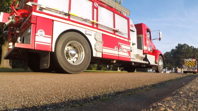 GoPro video of firetrucks and other emergency vehicles driving by Merit Health Crossgates to...