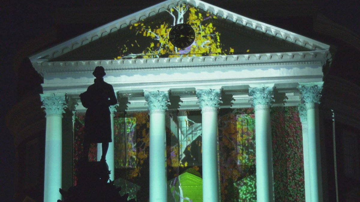 """University of Virginia's Rotunda during the university's """"Brighter Together"""" pop-up light show."""