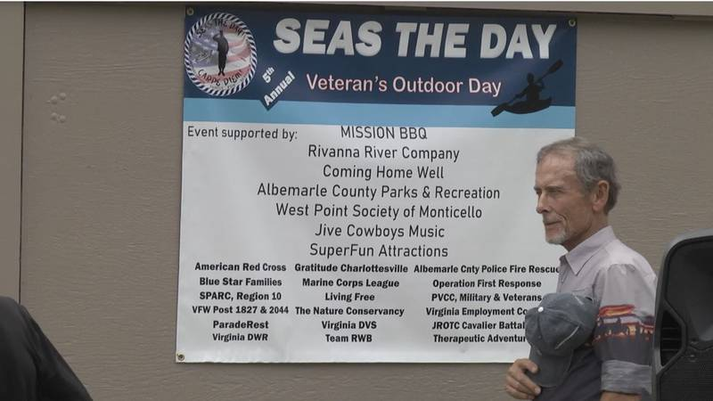 A veteran at the 2021 Seas the Day event saying the pledge of allegiance.