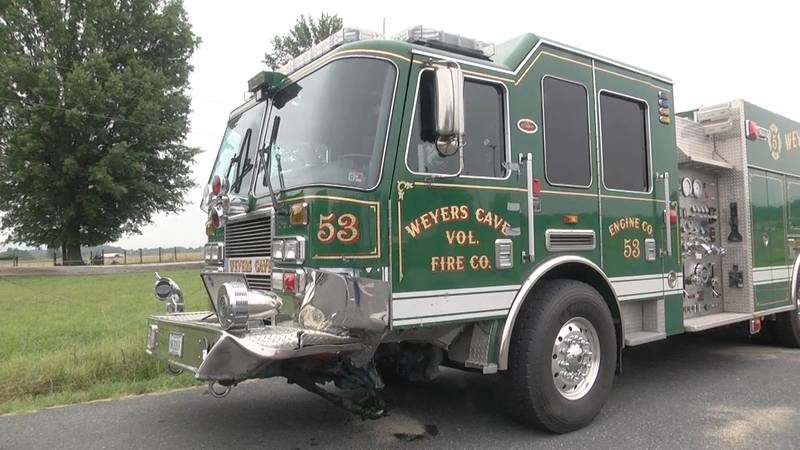 The Weyers Cave Volunteer Fire Company's rescue engine was damaged and taken out of service...