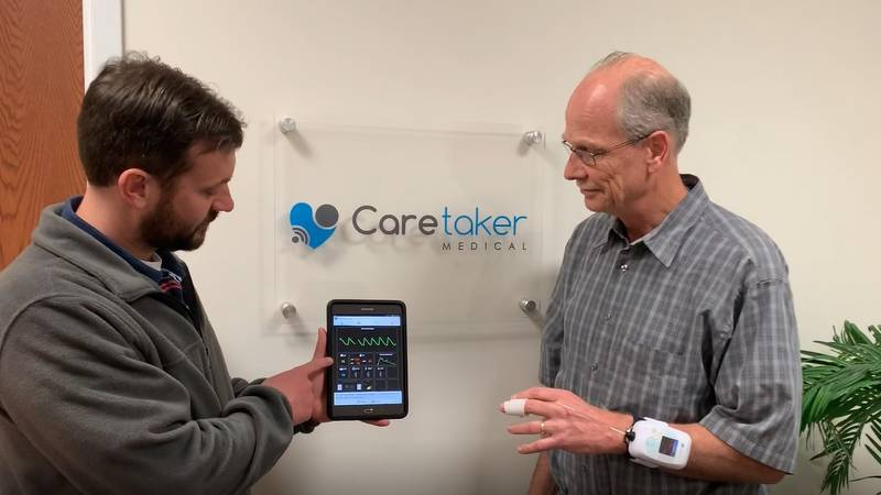 Testing of the touchless patient monitor at Caretaker Medical.