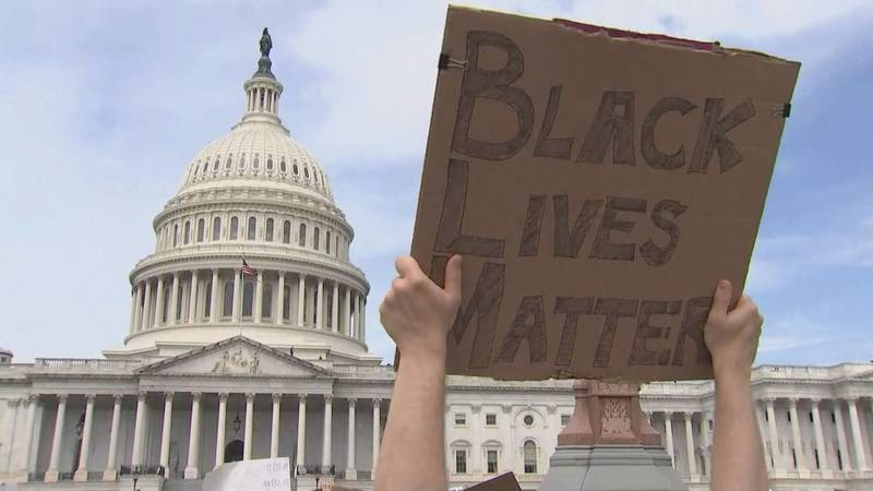 A protester holds up a Black Lives Matter sign in front of the United States Capitol.