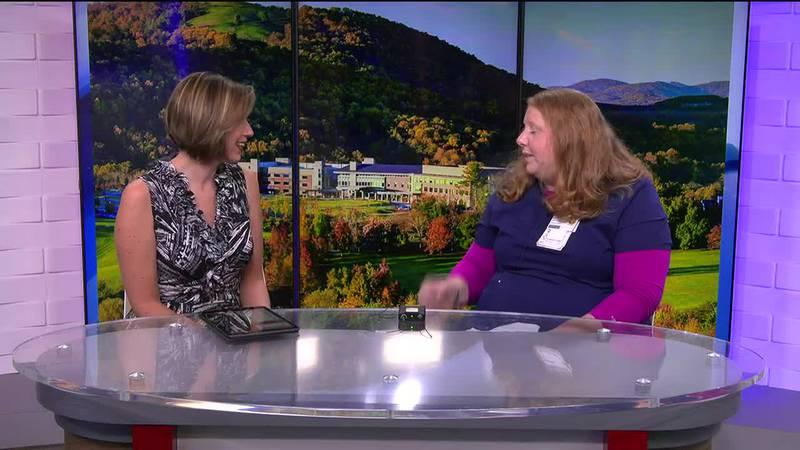 Kasey Hott talks with Rebecca Martin, the employee health team coordinator at Sentara Martha...