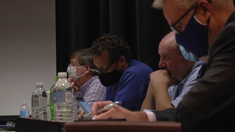 Waynesboro City Council members during a meeting Monday night at Kate Collins Middle School.