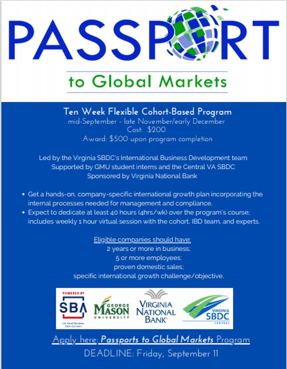 A flyer for the Passport to Global Markets program.
