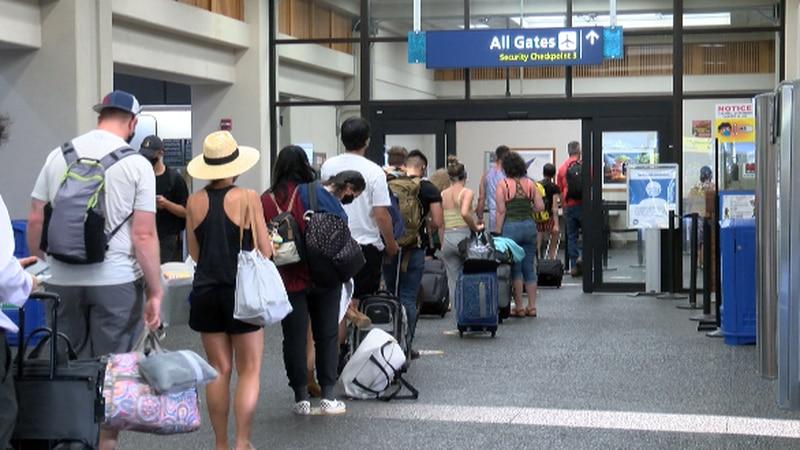 TSA line Tuesday at Terminal 2 of Daniel K. Inouye International Airport.