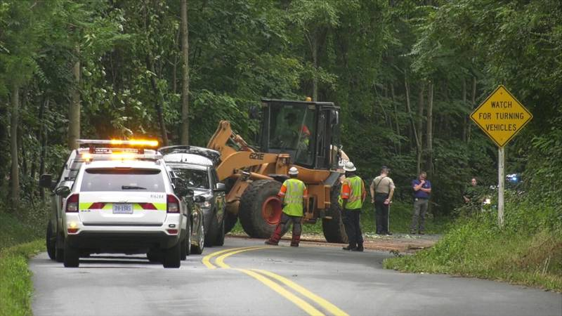Crews on the scene of a fatal crash along James Madison Parkway in Albemarle County.