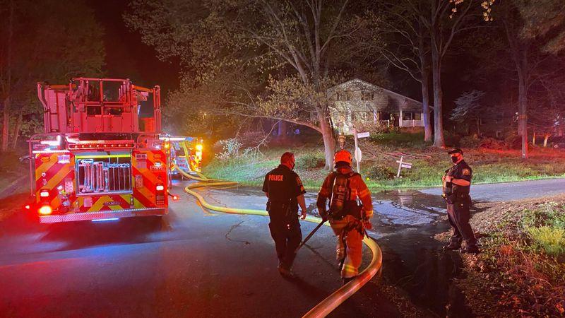 Crews battle 3-alarm fire in Chesterfield.