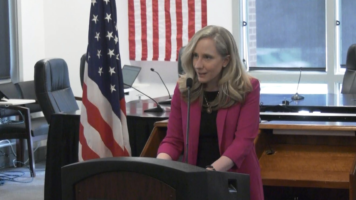 Abigail Spanberger speaks in Louisa County to celebrate a USDA ReConnect Grant that will bring...