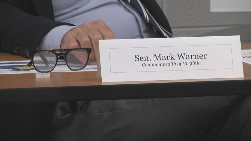 Sen. Mark Warner (D-VA) attends a rural broadband roundtable at Piedmont Virginia Community...