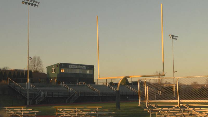 The football field at William Monroe High School. The school's varsity team had its final game...