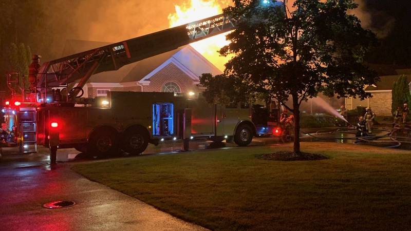 Crews battle Henrico house fire sparked by lightning.