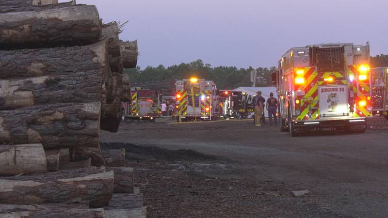 When crews arrived, they could see heavy black smoke coming from R.A. Yancey Lumber Corp's...