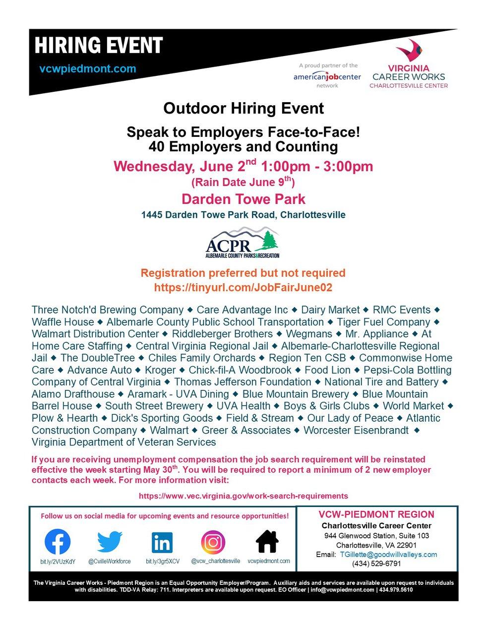 Outdoor Hiring Event
