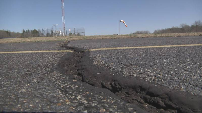 rough patches in pavement at Gordonsville municipal Airport