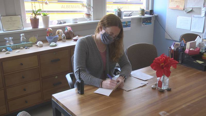 Broadus Wood Elementary School principle writing a birthday card