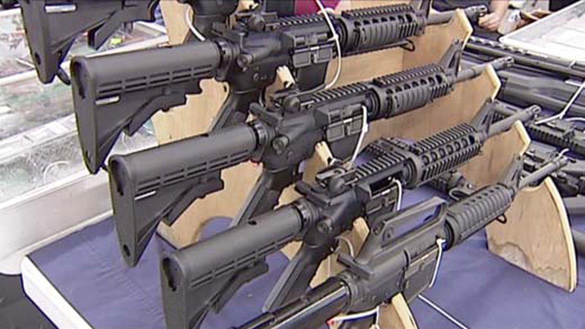 Guns on a display rack (FILE)