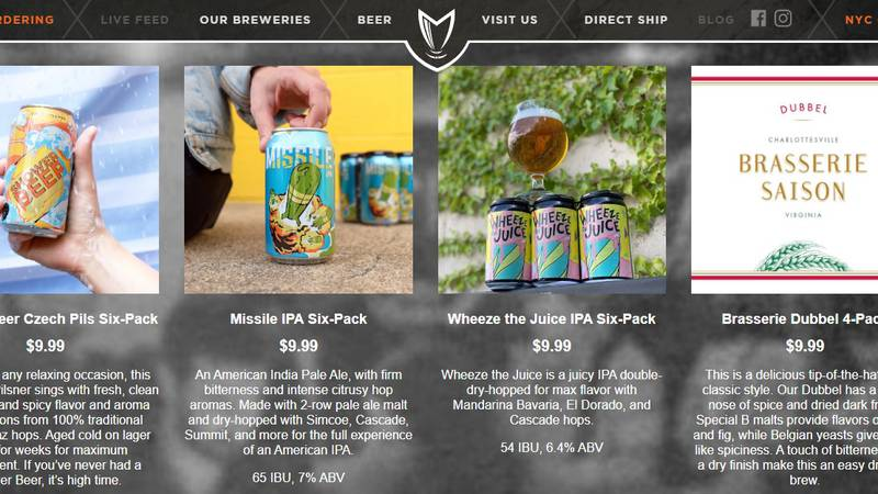 The Champion Brewing delivery webpage.