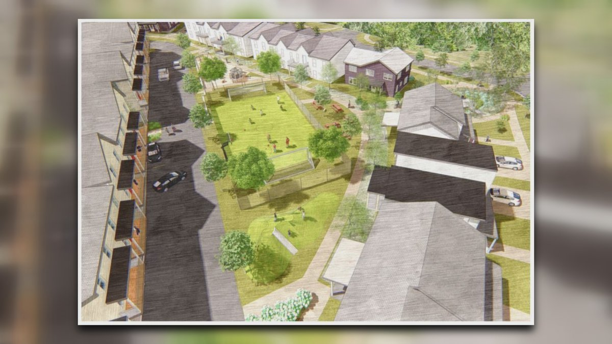 The Five Pillars Park at the first Southwood redevelopment neighborhood. (Courtesy of Habitat...